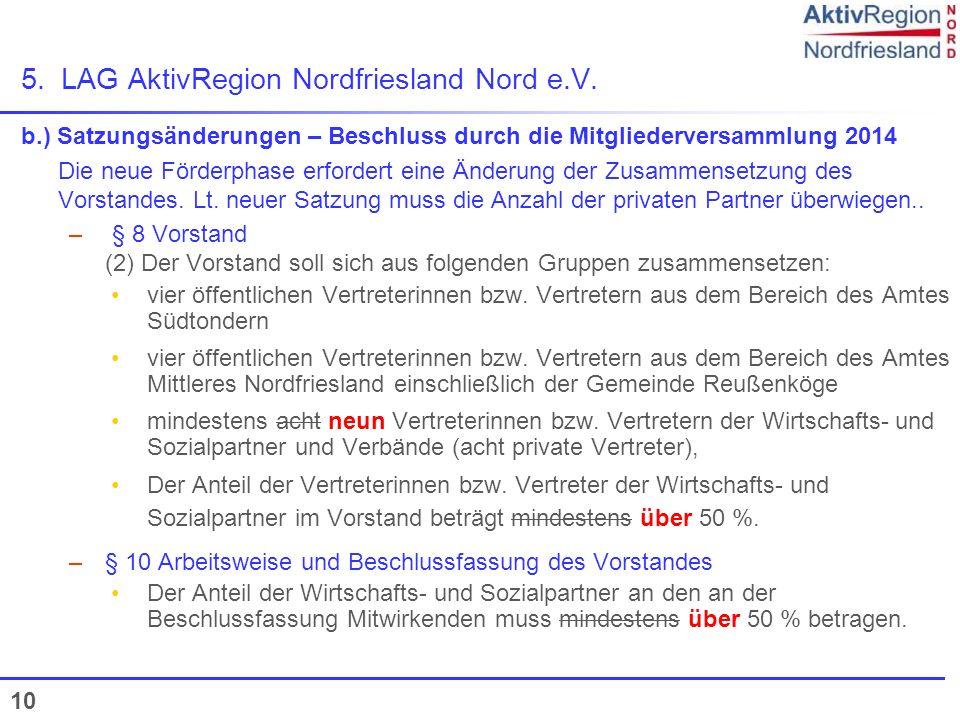 5. LAG AktivRegion Nordfriesland Nord e.V.