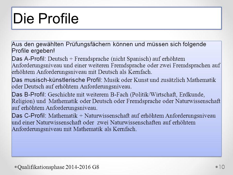 Die Profile Aus den gewählten Prüfungsfächern können und müssen sich folgende Profile ergeben!