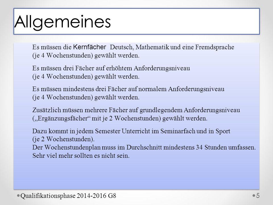 Allgemeines Es müssen die Kernfächer Deutsch, Mathematik und eine Fremdsprache (je 4 Wochenstunden) gewählt werden.