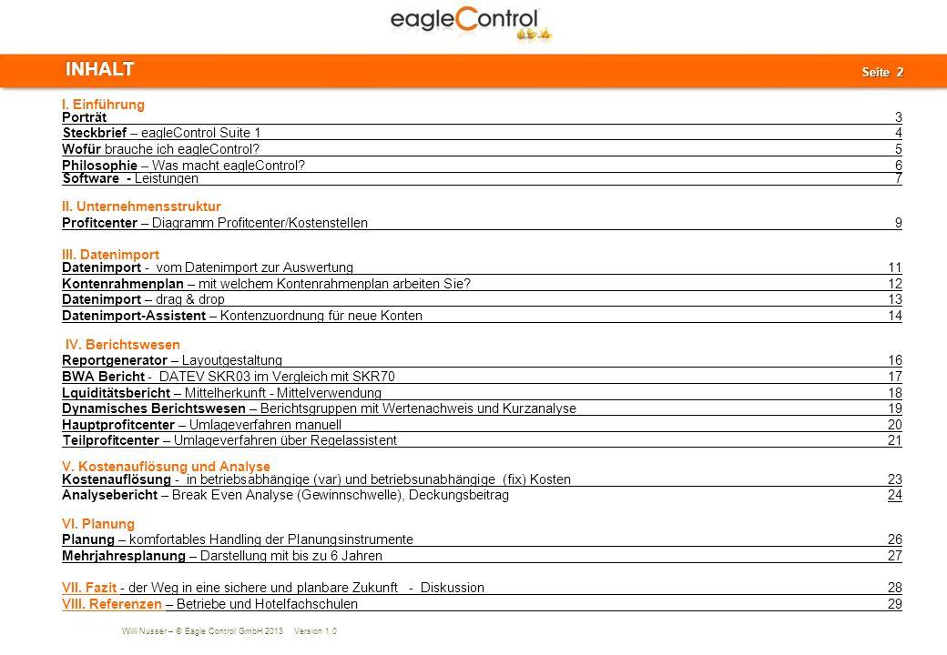 INHALT I. Einführung Porträt 3 Steckbrief – eagleControl Suite 1 4