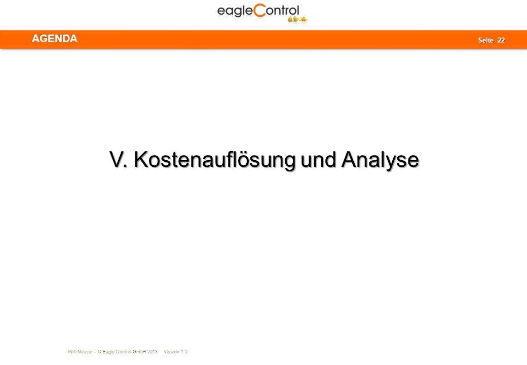 V. Kostenauflösung und Analyse
