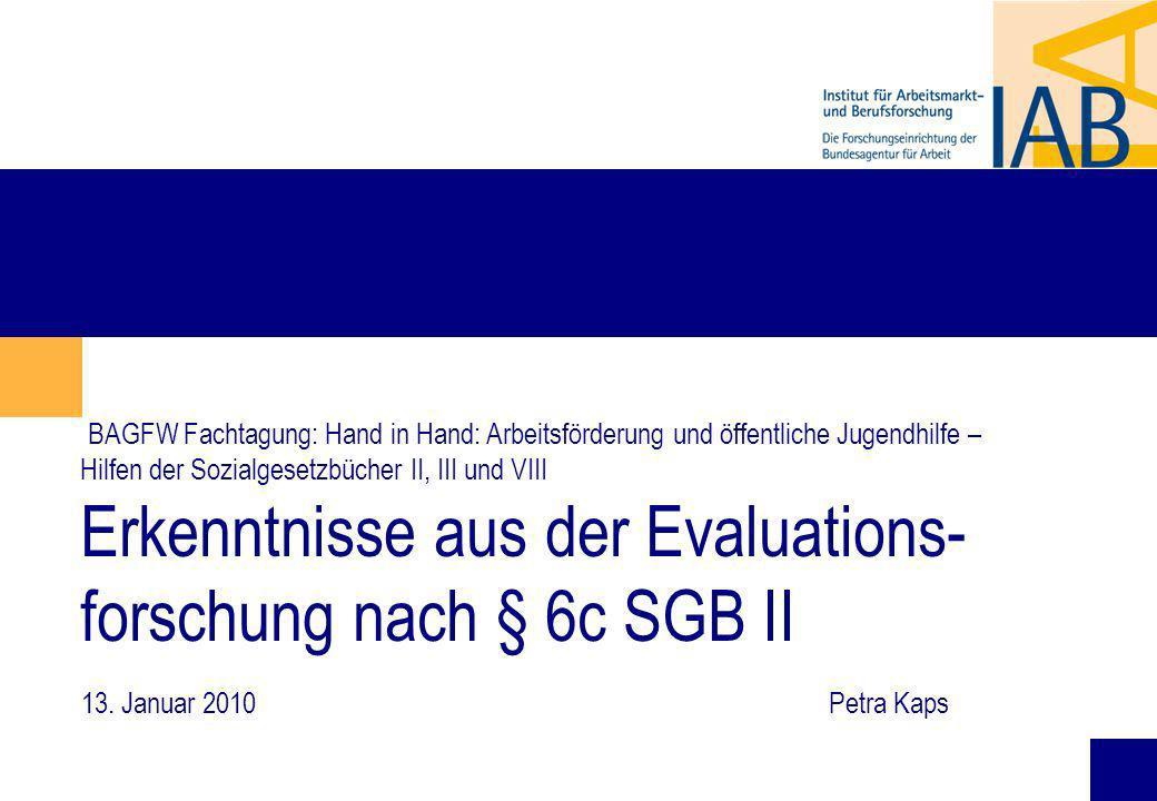 BAGFW Fachtagung: Hand in Hand: Arbeitsförderung und öffentliche Jugendhilfe – Hilfen der Sozialgesetzbücher II, III und VIII Erkenntnisse aus der Evaluations-forschung nach § 6c SGB II