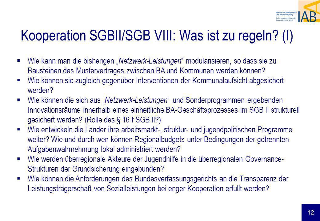 Kooperation SGBII/SGB VIII: Was ist zu regeln (I)