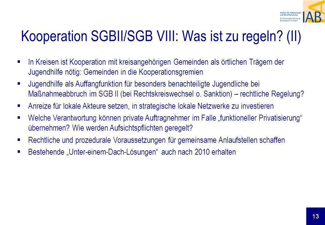 Kooperation SGBII/SGB VIII: Was ist zu regeln (II)