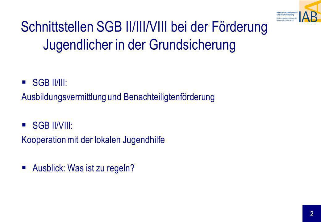 Schnittstellen SGB II/III/VIII bei der Förderung Jugendlicher in der Grundsicherung