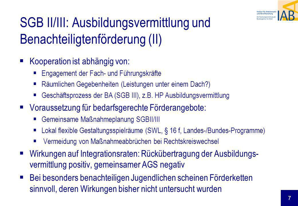 SGB II/III: Ausbildungsvermittlung und Benachteiligtenförderung (II)