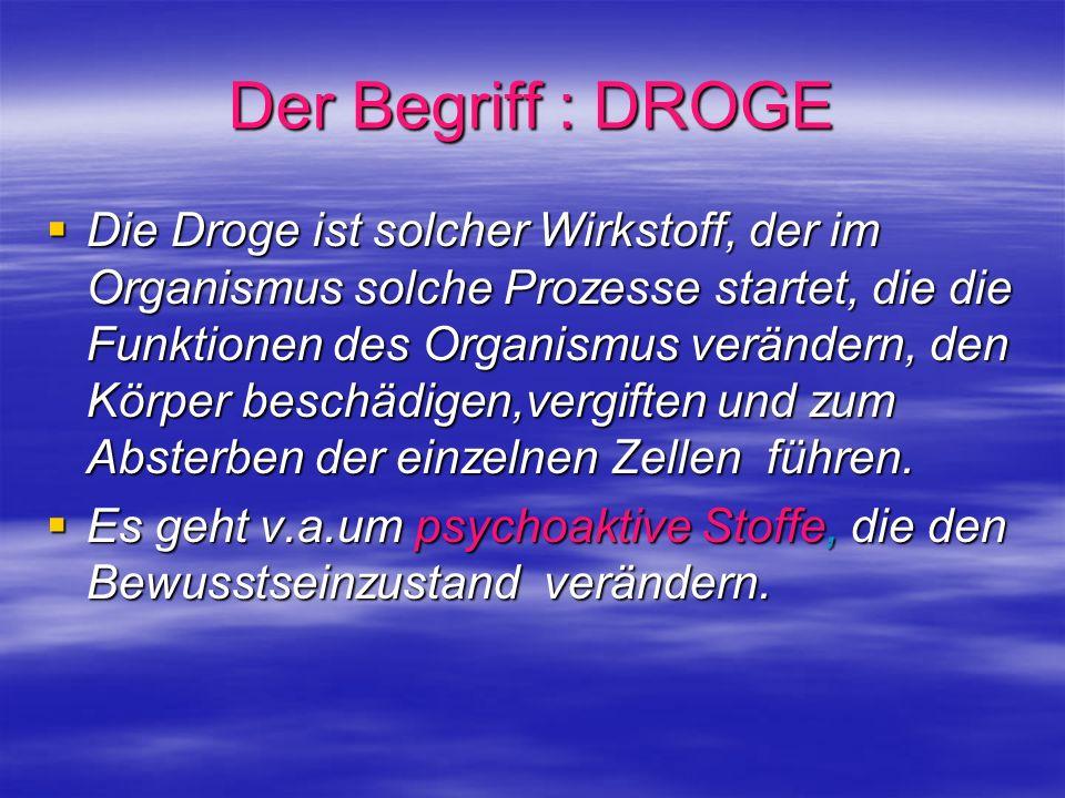 Der Begriff : DROGE