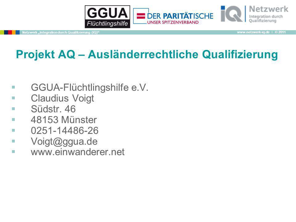 Projekt AQ – Ausländerrechtliche Qualifizierung