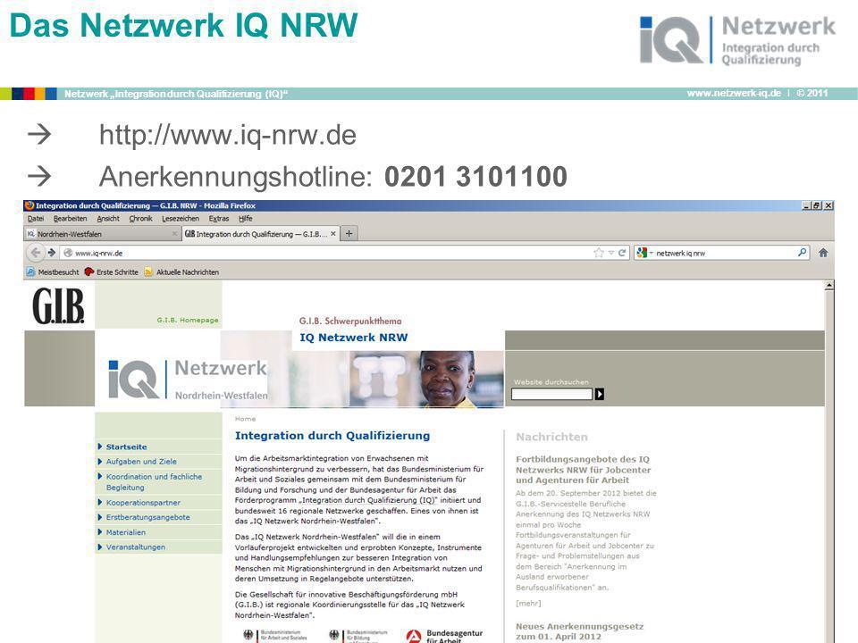 Das Netzwerk IQ NRW  http://www.iq-nrw.de