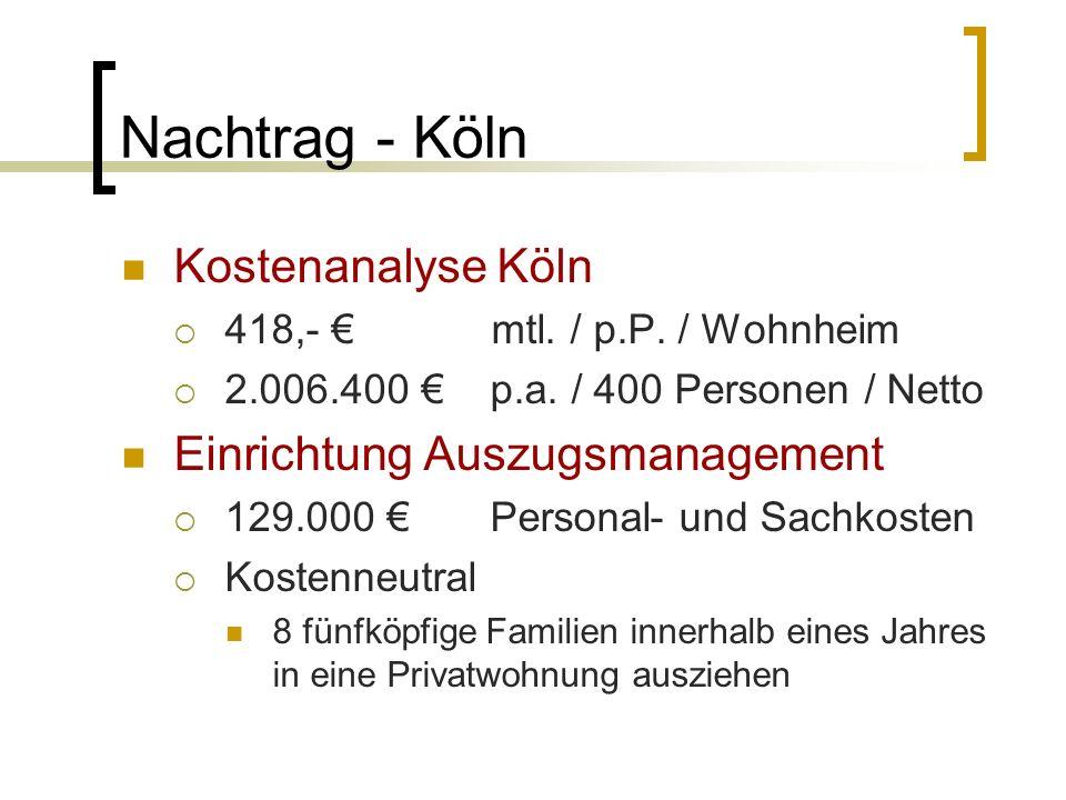 Nachtrag - Köln Kostenanalyse Köln Einrichtung Auszugsmanagement