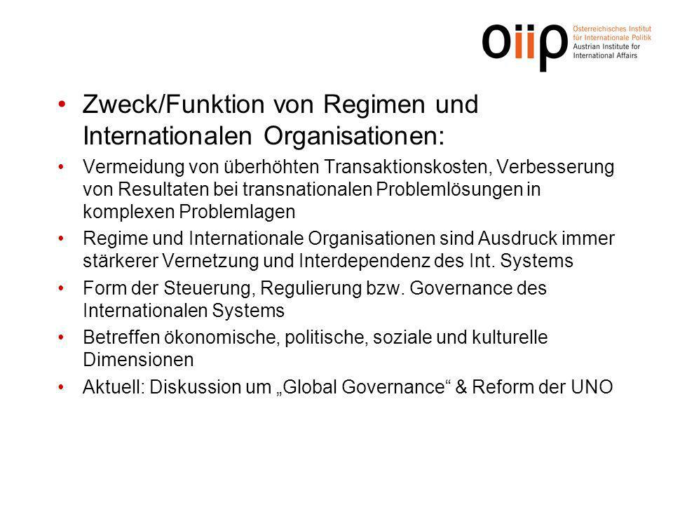 Zweck/Funktion von Regimen und Internationalen Organisationen: