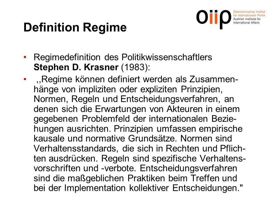 Definition Regime Regimedefinition des Politikwissenschaftlers Stephen D. Krasner (1983):