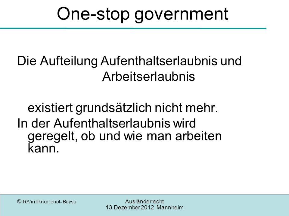 One-stop government Die Aufteilung Aufenthaltserlaubnis und