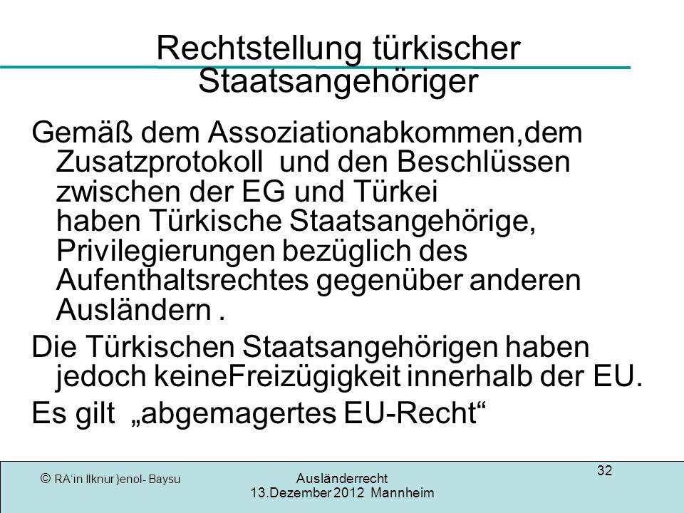 Rechtstellung türkischer Staatsangehöriger