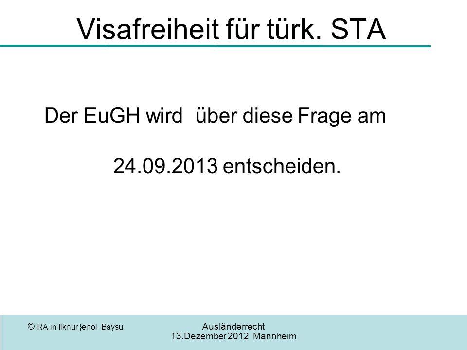 Visafreiheit für türk. STA