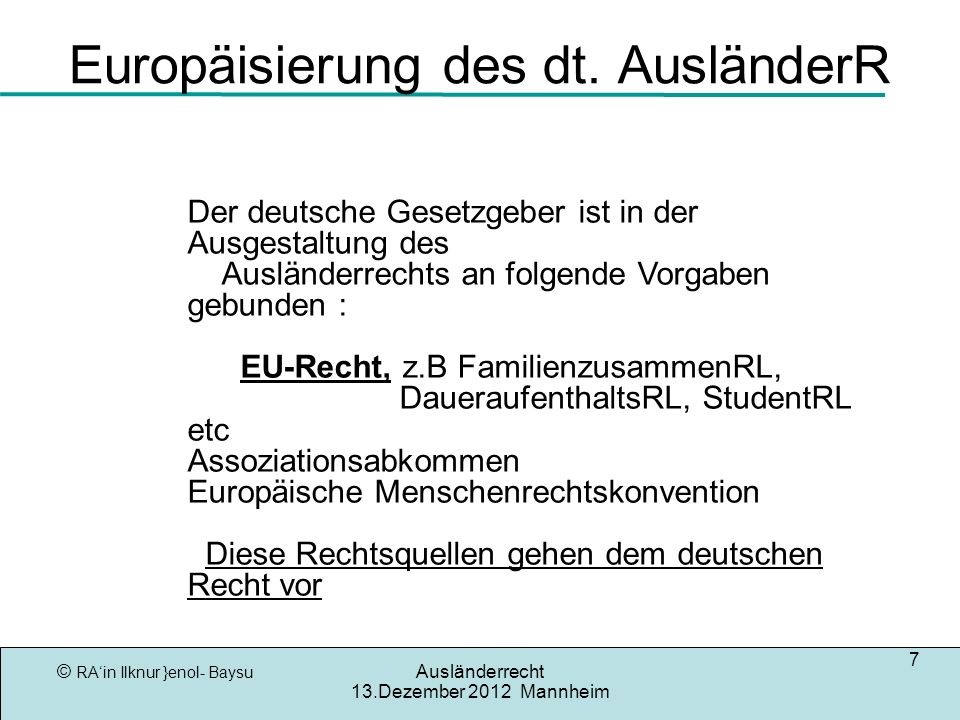 Europäisierung des dt. AusländerR