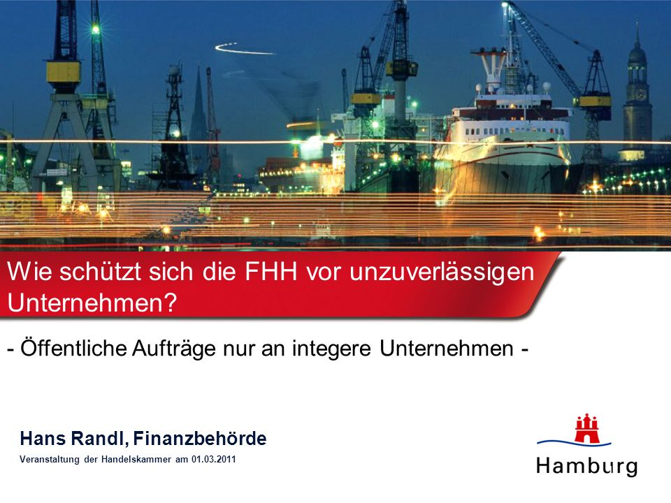 Wie schützt sich die FHH vor unzuverlässigen Unternehmen