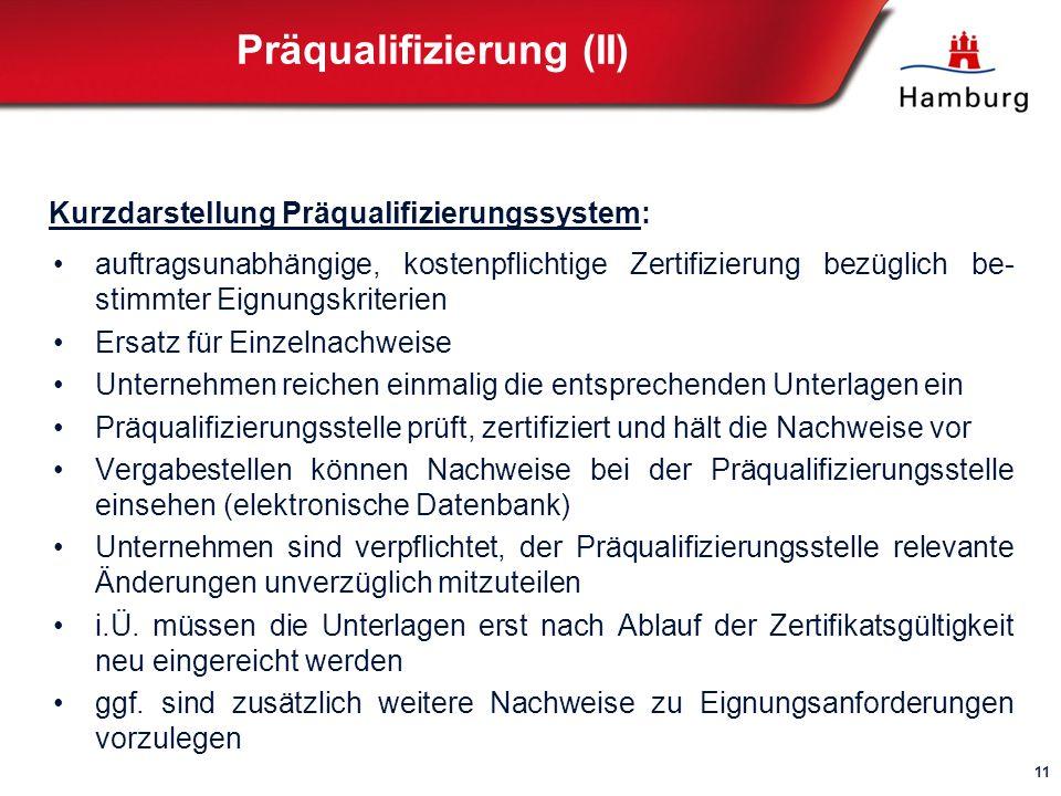 Präqualifizierung (II)