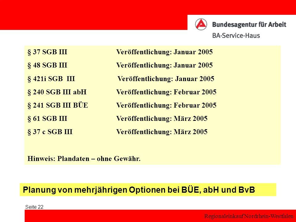 Planung von mehrjährigen Optionen bei BÜE, abH und BvB
