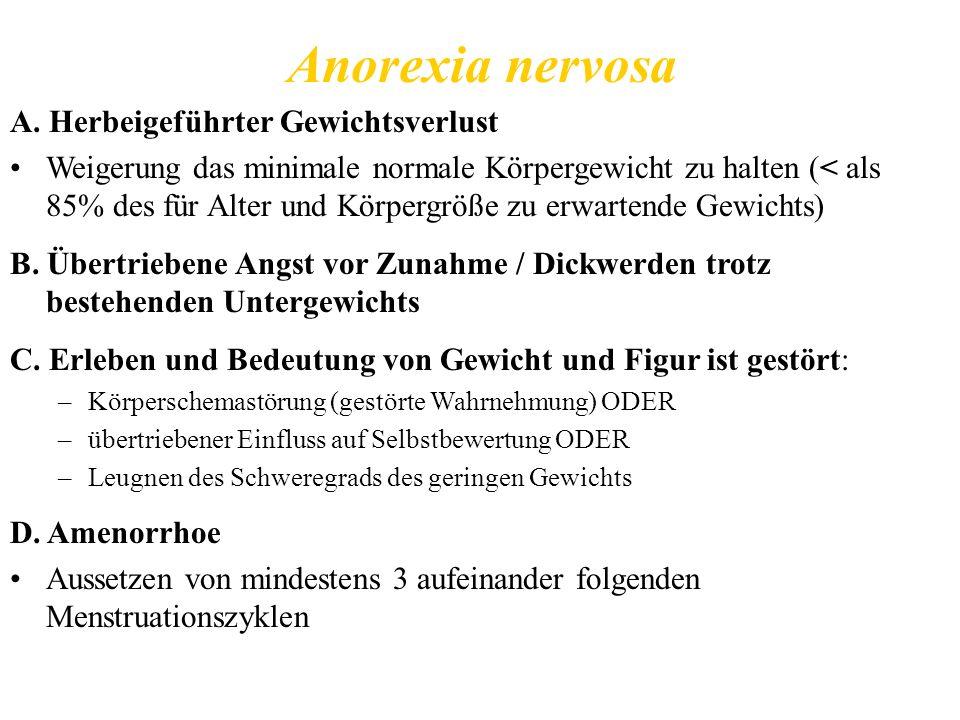Anorexia nervosa A. Herbeigeführter Gewichtsverlust