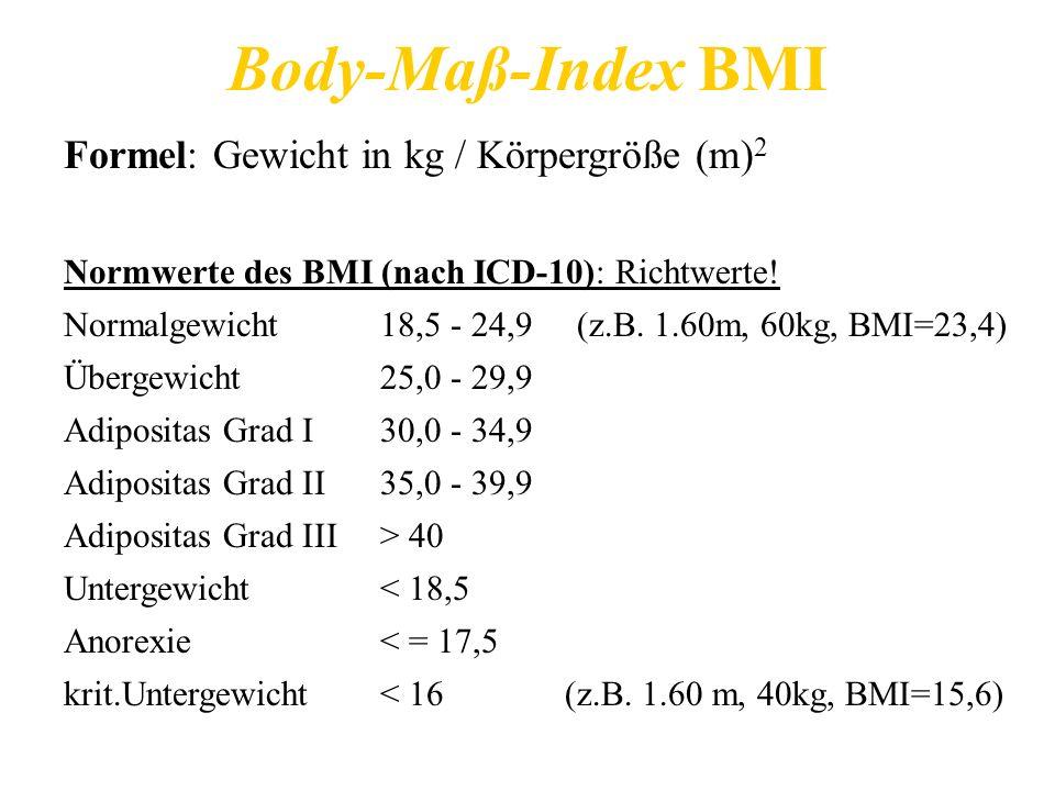 Body-Maß-Index BMI Formel: Gewicht in kg / Körpergröße (m)2