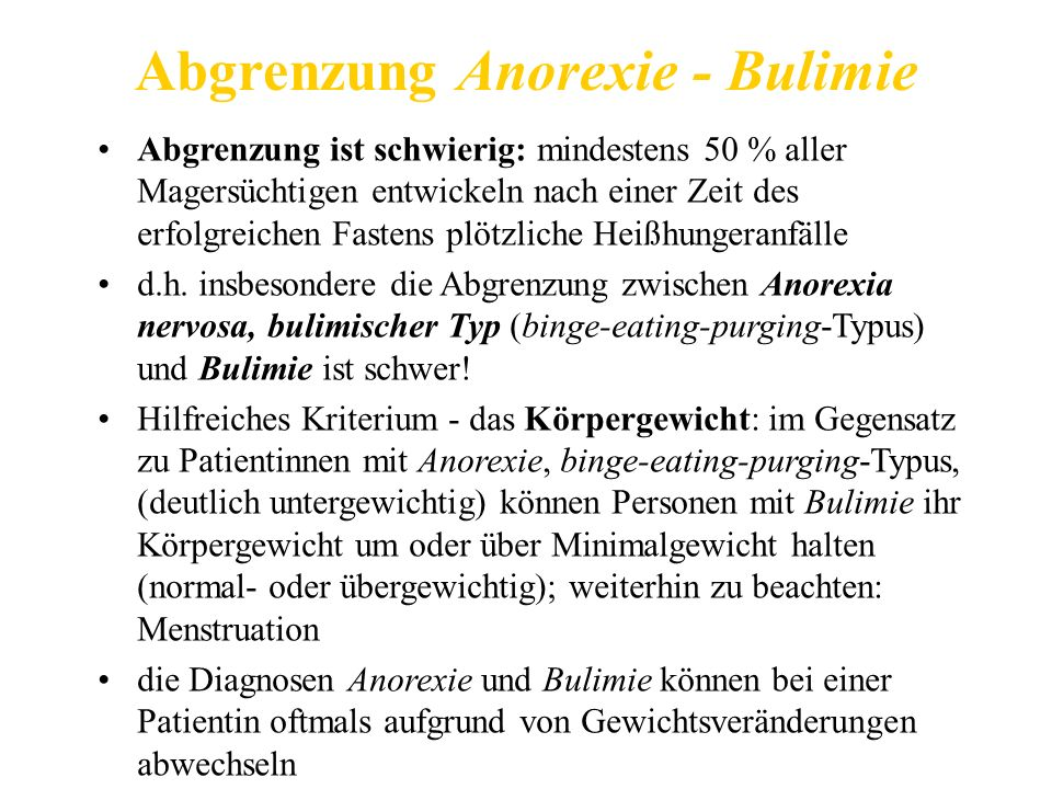 Abgrenzung Anorexie - Bulimie