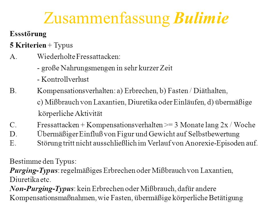Zusammenfassung Bulimie
