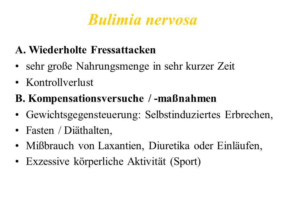 Bulimia nervosa A. Wiederholte Fressattacken