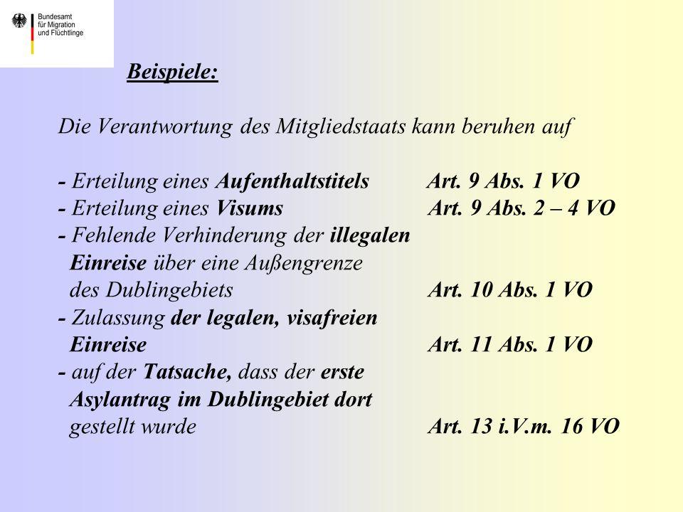 Beispiele: Die Verantwortung des Mitgliedstaats kann beruhen auf - Erteilung eines Aufenthaltstitels Art.
