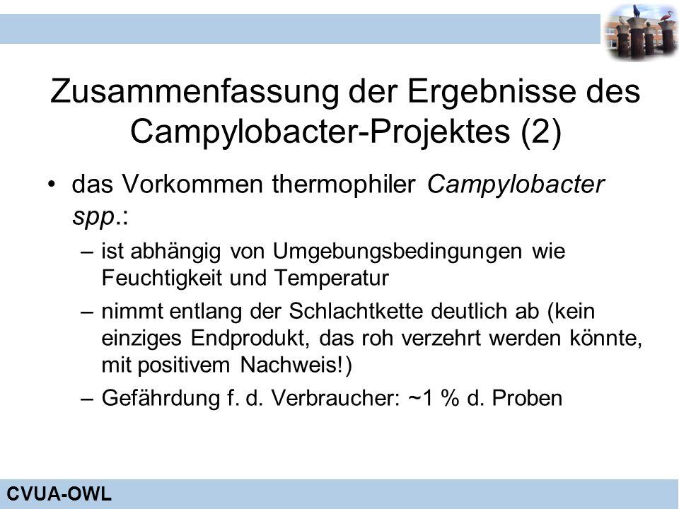 Zusammenfassung der Ergebnisse des Campylobacter-Projektes (2)