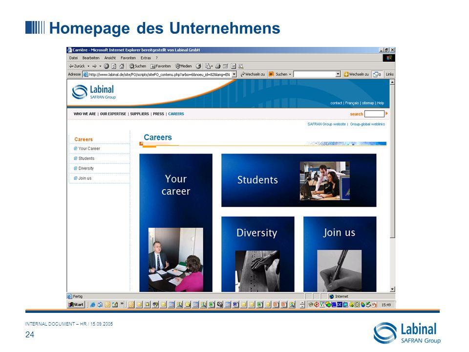 Homepage des Unternehmens