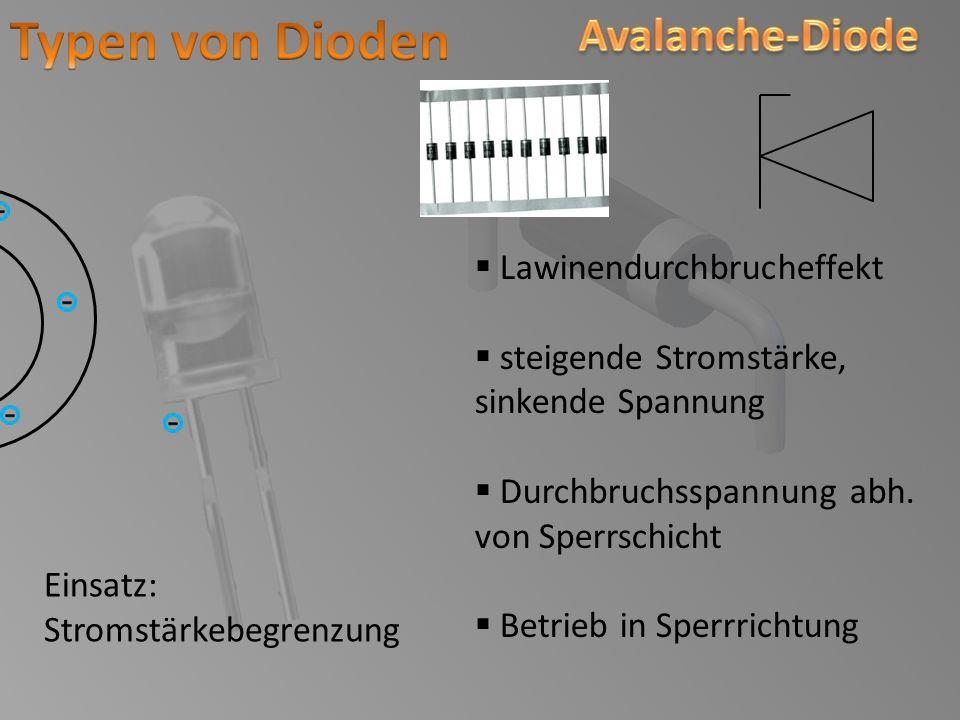 Typen von Dioden Avalanche-Diode Lawinendurchbrucheffekt