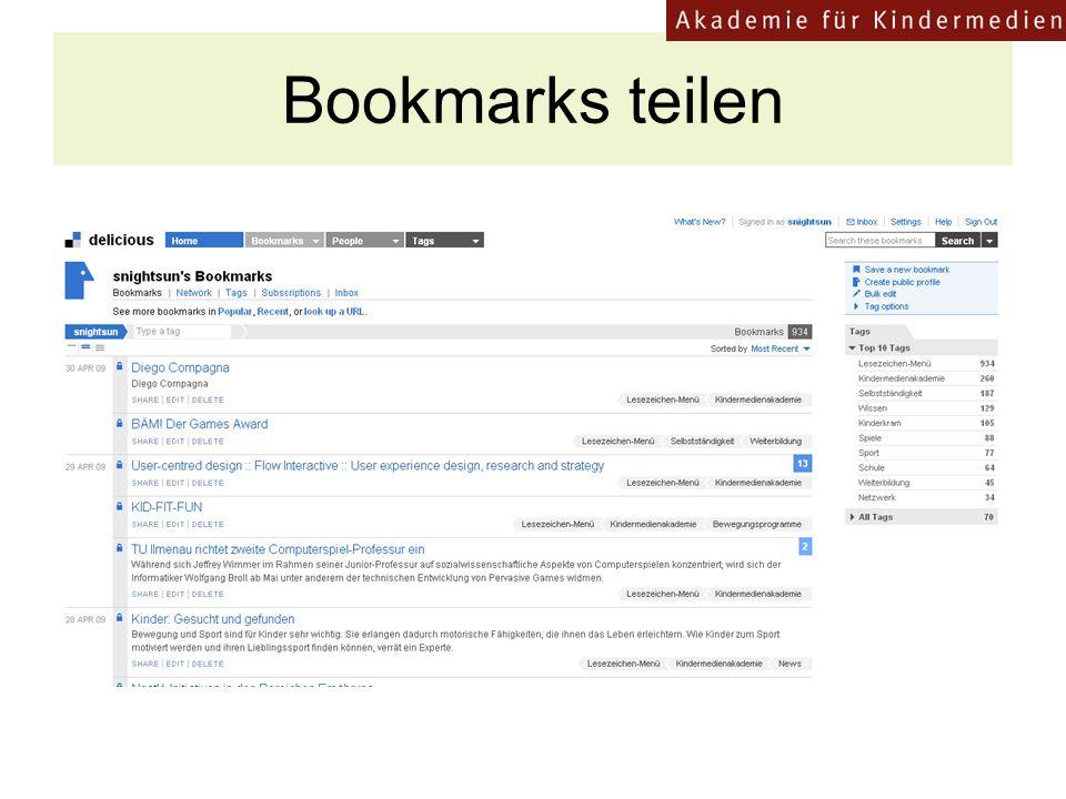 """Bookmarks teilen z.B. Wer hat den """"Goldener Spatz gewonnen 17"""