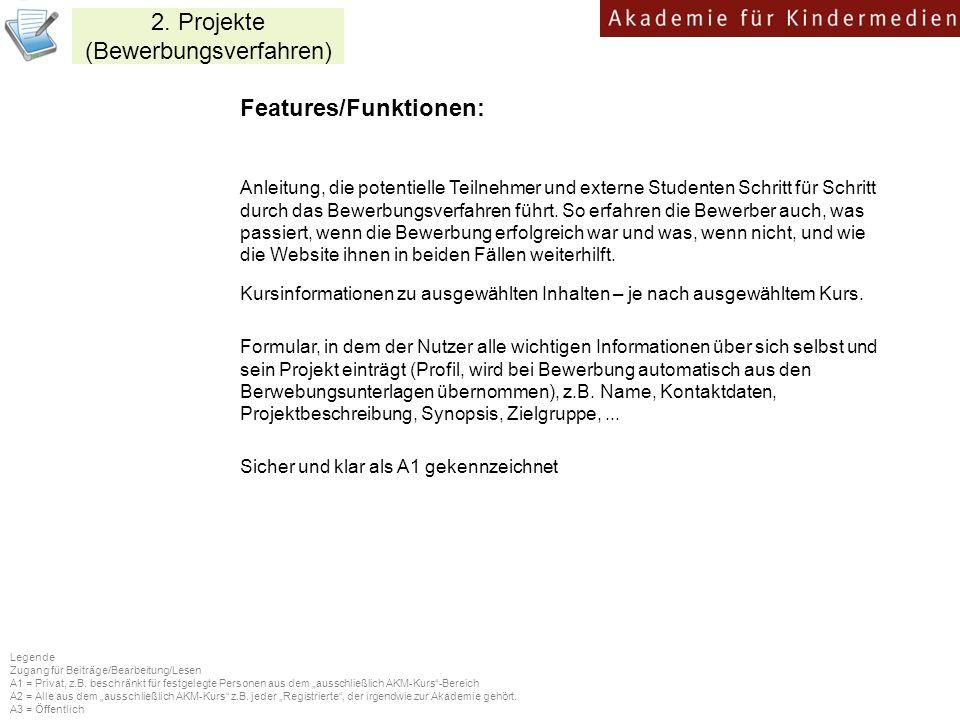 2. Projekte (Bewerbungsverfahren)