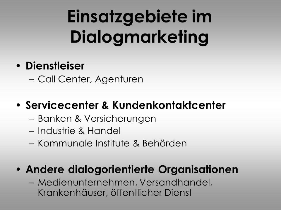 Einsatzgebiete im Dialogmarketing