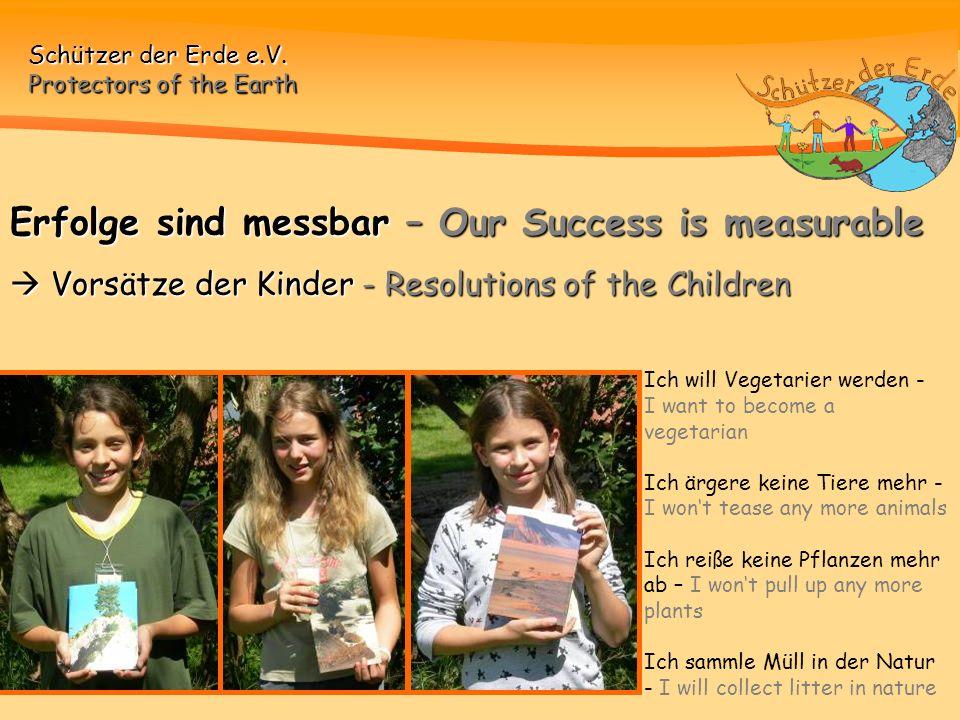 Erfolge sind messbar – Our Success is measurable  Vorsätze der Kinder - Resolutions of the Children
