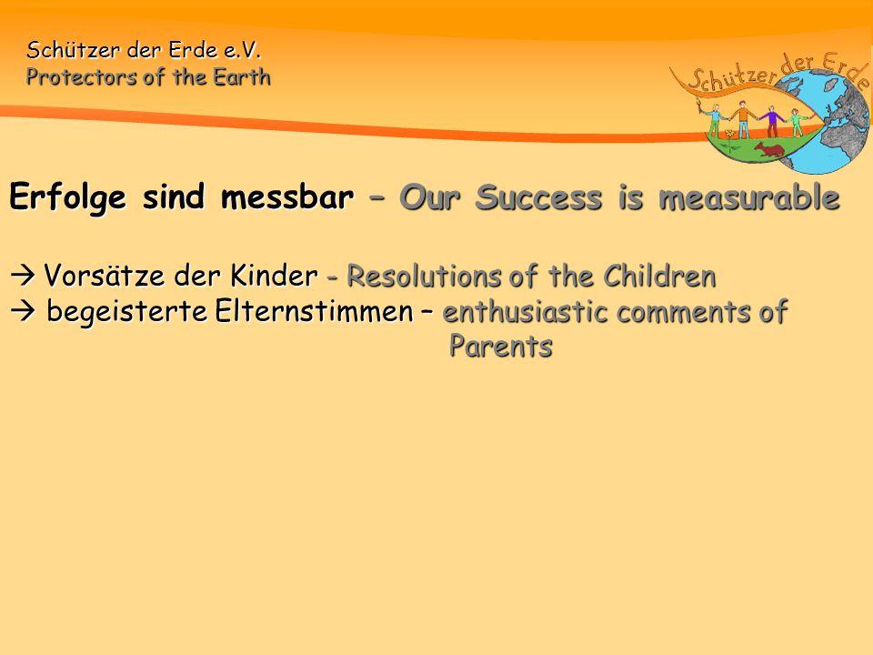 Erfolge sind messbar – Our Success is measurable  Vorsätze der Kinder - Resolutions of the Children  begeisterte Elternstimmen – enthusiastic comments of Parents