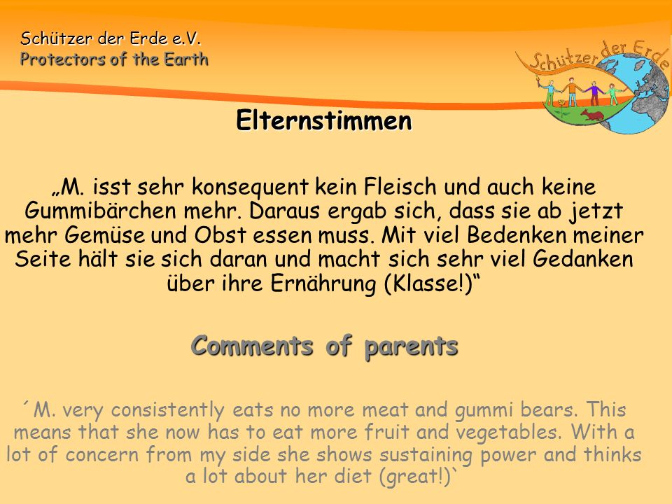 Elternstimmen Comments of parents