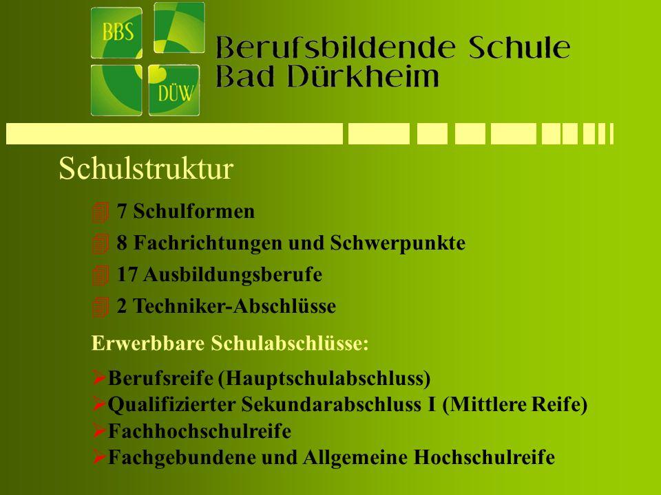 Schulstruktur 7 Schulformen 8 Fachrichtungen und Schwerpunkte