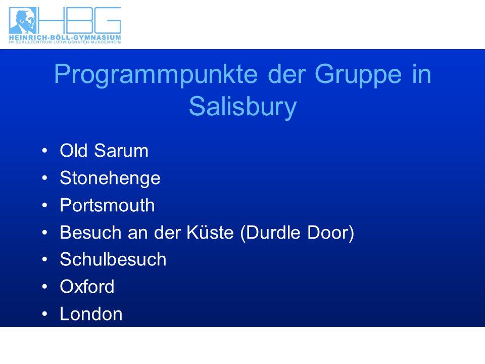 Programmpunkte der Gruppe in Salisbury