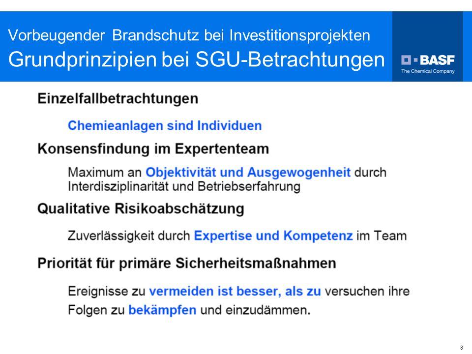 Vorbeugender Brandschutz bei Investitionsprojekten Grundprinzipien bei SGU-Betrachtungen
