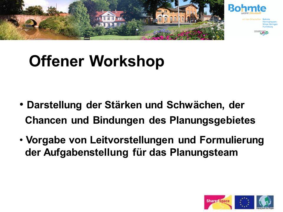 Offener Workshop Darstellung der Stärken und Schwächen, der Chancen und Bindungen des Planungsgebietes.
