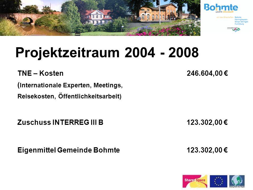 Projektzeitraum 2004 - 2008 TNE – Kosten 246.604,00 € (Internationale Experten, Meetings, Reisekosten, Öffentlichkeitsarbeit)