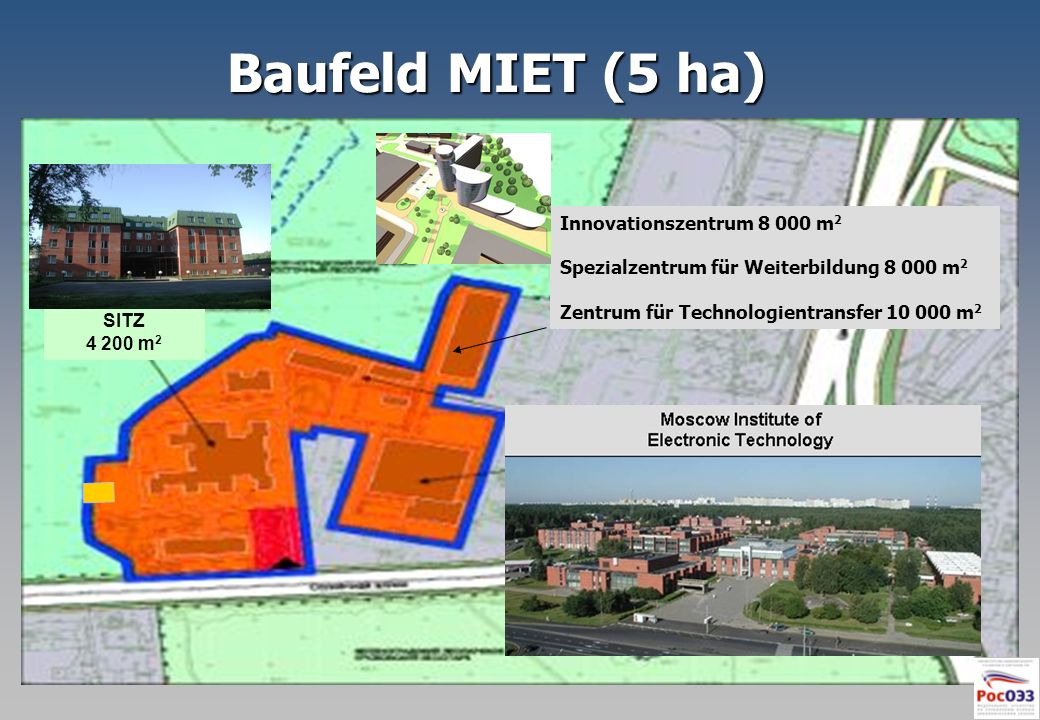 Baufeld MIET (5 ha) Innovationszentrum 8 000 m2