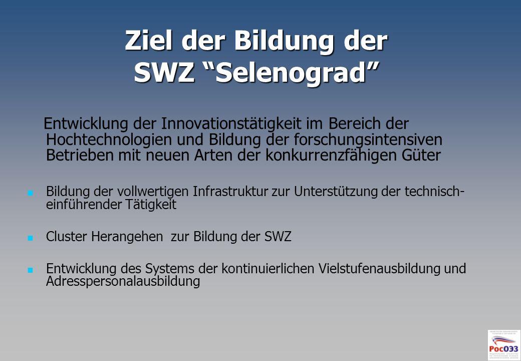 Ziel der Bildung der SWZ Selenograd