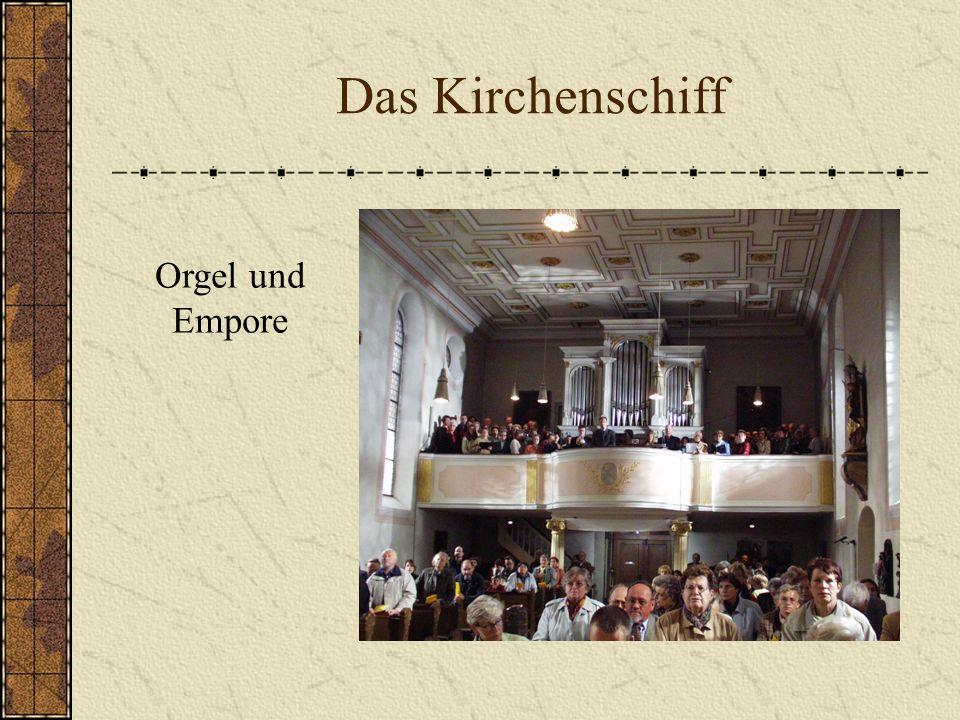 Das Kirchenschiff Orgel und Empore
