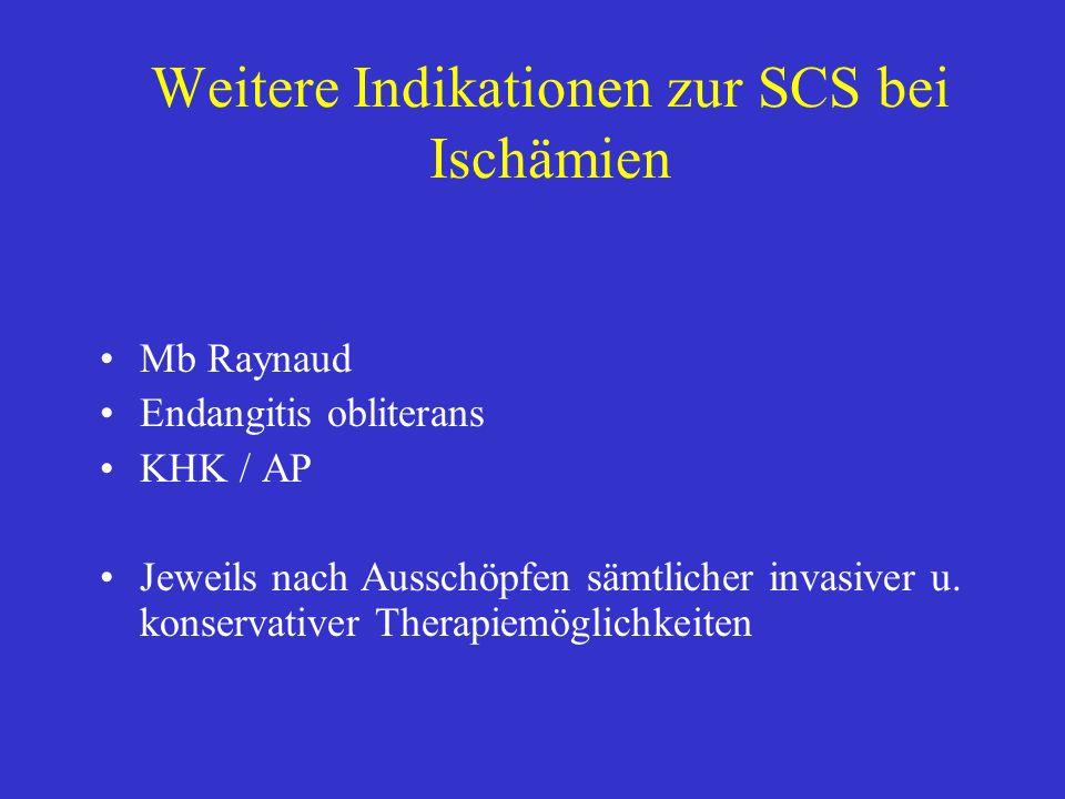 Weitere Indikationen zur SCS bei Ischämien