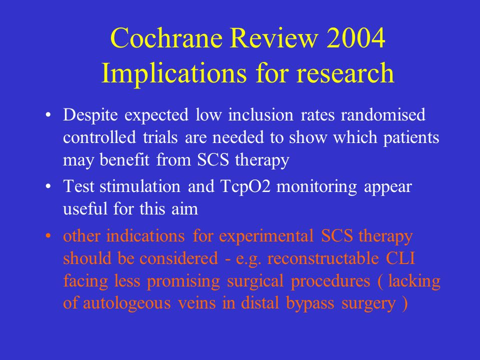 Cochrane Review 2004 Implications for research