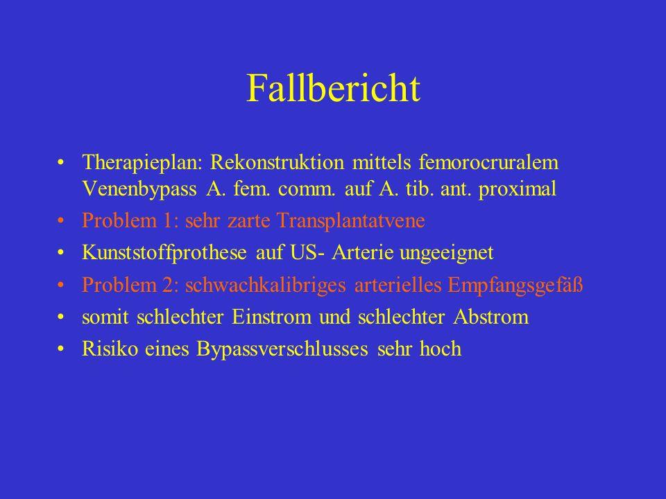 Fallbericht Therapieplan: Rekonstruktion mittels femorocruralem Venenbypass A. fem. comm. auf A. tib. ant. proximal.