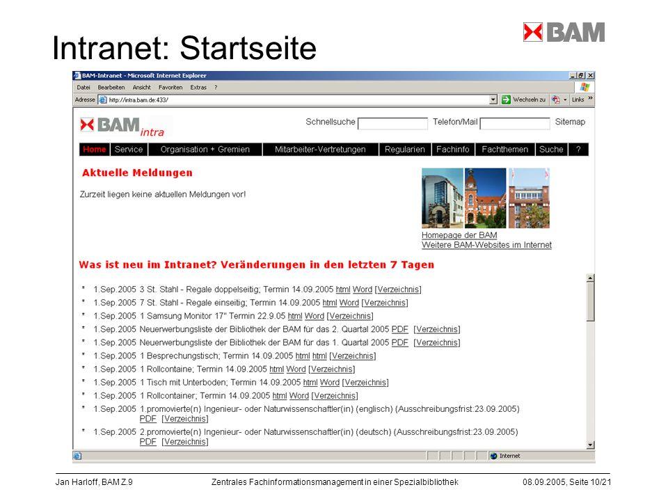 Intranet: Startseite Jan Harloff, BAM Z.9